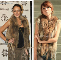 Wholesale 2012 QD0624 Genuine Rabbit Fur with Raccoon trim Waistcoat tassels warm coats vest gilet OEM Free