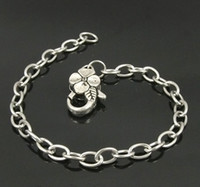 Wholesale MIC Stainless Steel Chain Tibetan Silver Flower Lobster Clasps Charms Bracelet