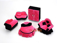 Wholesale Jewelry boxes sets Safa charpie earing rings boxes display gift Jewellery Case box colors