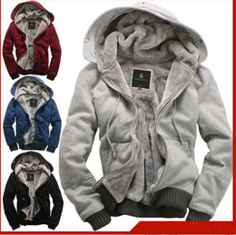 Wholesale HOT New plush thick warm Men s Hoodies amp Sweatshirts winter Jacket Coat overcoat Size M L XL XXL