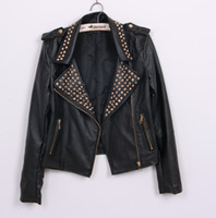 Wholesale Women Black PU leather rivets jackets Motorcycle slim cardigan rivet turn down collar punk jackets size S M L in stock