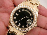 Men's Mechanical Analog luxury watch MENS 18K YELLOW GOLD MASTERPIECE BLACK DIAMOND DIAL Perpetual Sport Men's Watches
