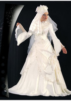 Wholesale A line New Beautiful Muslim islamic White Wedding Dresses High Neck Long Sleeve Beads Muslim Wedding