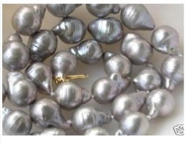 Wholesale HUGE quot SOUTH SEA BAROQUE GRAY PEARL NECKLACE K GOLD