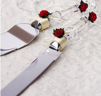 Wholesale Cream Rose Wedding Cake Knife amp Server Set Stainless Steel Wedding Favors Gifts