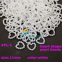 Nail Art 3D Decoration pearl heart beads - 1000pcs White Imitation Heart Shape Pearl Beads Nail Art Decoration Cellphone Laptop Decoration Art