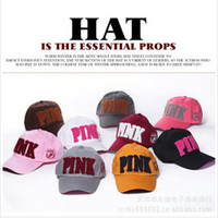 Wholesale New PINK letters towel embroidery baseball cap baseball cap Tennis hat unisex hat