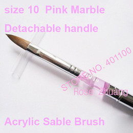 Wholesale Freeshipping Size Acrylic Sable Nail Art Brush Detachable Nail Brushes Pink Marble Who