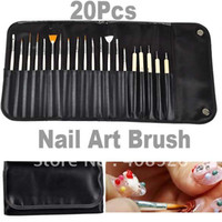 Nail Art Brushes beauty plastic art - 20PCS Nail Art Brush For Nail Beauty amp Patting Painting Dotting Pen Brushes Tool set With Roll Up Bl