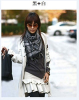 Wholesale Classic style scarf cotton plaid scarf lady Houndstooth Scarf Ladies large square shawl color