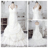 Real Photos Portrait Taffeta Halter White Taffeta Ruffle Mermaid Gown Short Train Grecian Style Wedding Dresses 2012