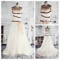 Real Photos Portrait Tulle Corset Strapless Tulle Handmade Flower A-Line Unique Wedding Dresses China Grecian Style 2013