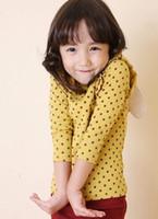 Medium  Girl 100% Cotton Baby girl cute yellow polka Dots tee shirt kids high quality Angel wings tops