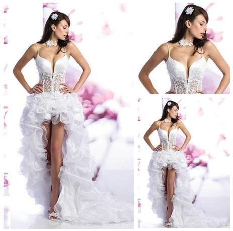 A line wedding dresses white organza spaghetti straps for High low wedding dresses for sale
