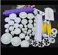 Wholesale 18 Sets plunger Cutter Embosser Fondant Flower Cake tool Bakeware Moulds