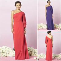 Wholesale Water Melon After Six Bridesmaid Dresses One Shoulder Column Full Length Pleated Maids of Honor