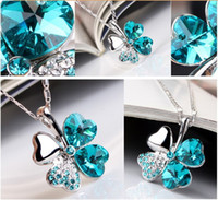 Wholesale 12 x Crystal Clover Leaf Necklaces Pendants Mix All Of Style colors You can choose