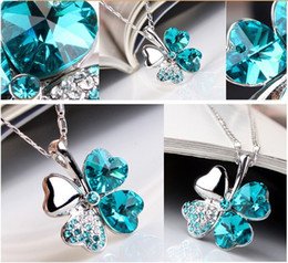 12 x Crystal Clover Leaf Necklaces Pendants Free Shipping Mix All Of Style 9 colors You can choose