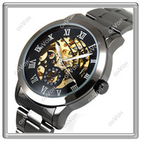 Wholesale S5Q New Titanium Stainless Steel Black Automatic Skeleton Mechanical Mens Watch AAAAUK