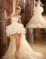 Sweetheart Lace Beaded Ruffled High Low Prom Evening Dresses...