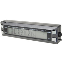 Wholesale 3 quot LCD Digital Clock with In Outside Thermometer Voltage Measuring Bar for Vehicles Car
