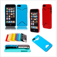 Plastic For Apple iPhone  Plastic Case With ID Credit Card Holder Hard Case Back Cover For iphone 5 5G 5th