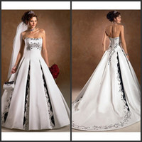 Wholesale Designer black white embroidered a line strapless lace up satin Wedding Dresses Bridal Dresses