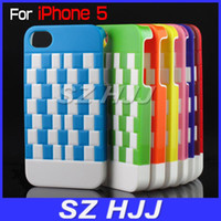 Wholesale Hard Case for iPhone4S GS Plastic Skin Back Protective Cover Double Colors Check Design