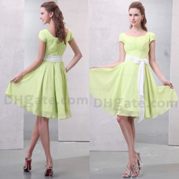 Custom Made Cheap Price Knee Length 2015 A-line Short Sleeves Wedding Party Bridesmaid Dress BD028