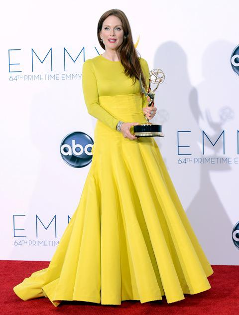 Julianne Moore Gorgeous Long Sleeves Yellow Celebrity Dresses Red ...