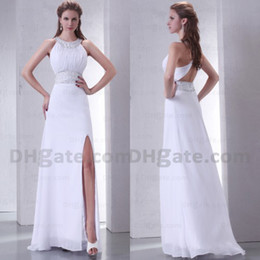 Good Design Split Strapless Halter Chiffon Full Length 2019 Long Bridesmaid Dress With Open Back BD031