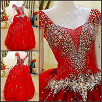 Wholesale Hot sales Sexy Ball gown Bowknot Red evening gowns Off Shoulder Rhinestone Embroidery Sequin Beads evening dress Ball Gown