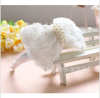 Wholesale Children hair ornaments Cute Girls Rose Lace Buterfly Headband Kids bridal hairpin pink white
