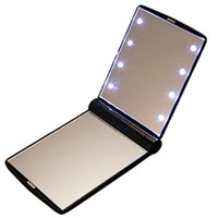 Wholesale fashion mini portable love led lighting makeup mirror with light folding mirror