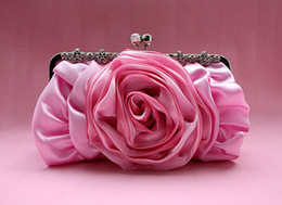 Wholesale Fashion Satin Rose Flower Shape Evening Handbag Bride Handbag