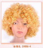 Wholesale New arrival Rainbow Afro Clown Child Adult Costume Football fan Wig hair Christmas wig