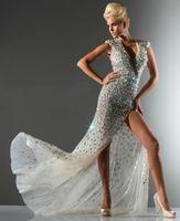 V-Neck split shorts - 2013 New Sexy Luxurious Evening Dresses Split Backless Short Sleeves Prom Dresses C21