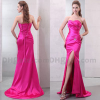 good evening - Hot New Good Price Hot Pink Slim Beaded Strapless Satin Back Lace Slit Formal Evening Dresses ED053