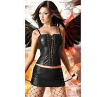 Firm goth - freeshipping SEXY LINGERIE CORSET SKIRT STEEL BONED BLACK PVC FAUX LEATHER GOTH black SIZE S