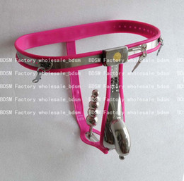 Wholesale BDSM FATORY Pink color Male Fully Adjustable T type stainless steel anal plug chastity belt