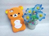 Wholesale Hotselling New D Lovely Bear Rilakkuma Silicone back cover Case for Iphone Protective in colors