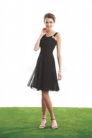 Reference Images   2013 New Short A-line Black Square Neckline Straps Knee-length Chiffon Bridesmaid Dresses