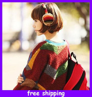 Wholesale Fashion plush rainbow earmuffs knitting wool earflap winter ear cover earflap fast delivery