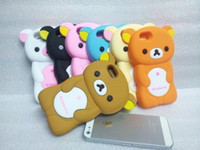 Wholesale New D Lovely Bear Rilakkuma Silicone Gel Case for Iphone Protective Back Cover case