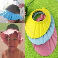 Wholesale Soft Baby Kids Children Shampoo Bath Shower Cap Hat Wash Hair Shield Yellow Blue Pink
