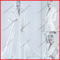 Wholesale Warmer White A line Fake Fur Winter Long Sleeves Custom Wedding Bridal Formal Dress Outwear Jacket