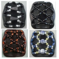 Wholesale 4pcs Black amp Brown amp Blue Mixed Wood Beads Double Magic Vogue Women Hair Clip Comb