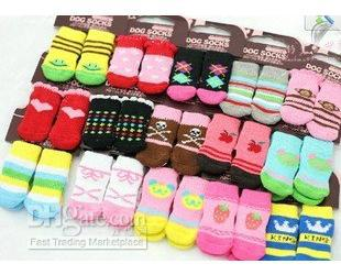 Wholesale Free shipping ! NEW Fashion Design pet Dog Socks 24pcs/lot=6sets/lot
