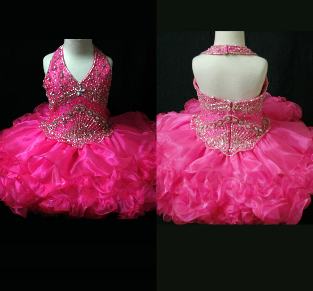 Gorgeous Hot Pink Hater Beaded Flower Girl Dresses Toddlers ...