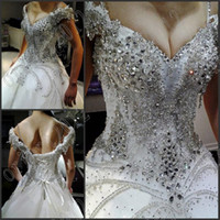 Wholesale Unique Deep V Neck Off the shoulder Ball Gown Applique Beaded crystals wedding gowns Evening dresses Chapel Train bride dress